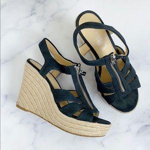 Michael Kors Black Canvas Zipper Wedge Sandals 6